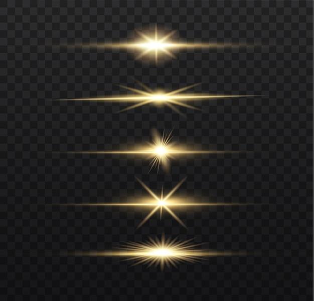 Pacote de reflexos de lente horizontal amarela. feixes de laser, raios de luz horizontais.