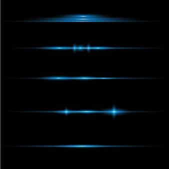Pacote de reflexos de lente horizontal azul. feixes de laser, raios de luz horizontais.