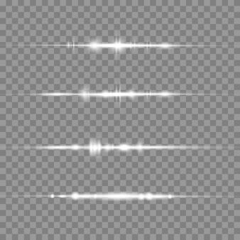 Pacote de reflexos de lente horizontal branca em fundo transparente