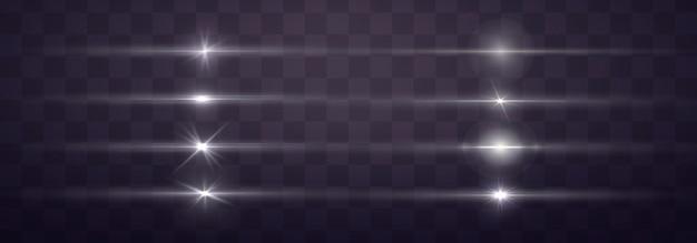 Pacote de reflexos de lente horizontal branca.