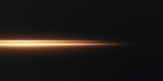 Pacote de reflexos de lente horizontal de ouro. feixes de laser, raios de luz horizontais.