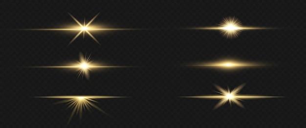 Pacote de reflexos de lente horizontal. feixes de laser, raios de luz horizontais.