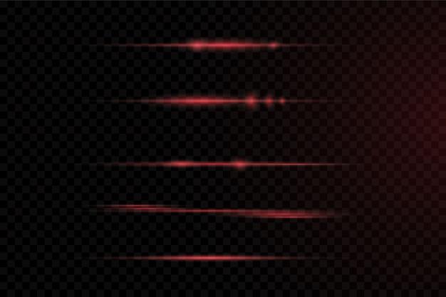 Pacote de reflexos de lente horizontal vermelha. feixes de laser, raios de luz horizontais.