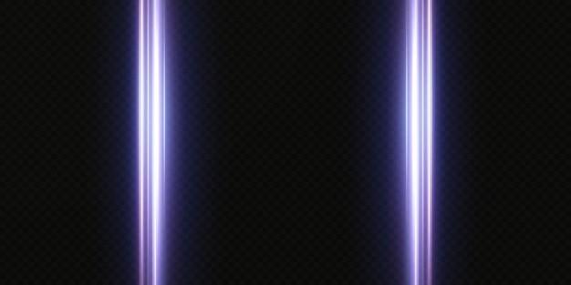 Pacote de reflexos de lentes horizontais brancas. feixes de laser, raios de luz horizontais. luzes lindas. listras brilhantes sobre fundo claro. fundo forrado cintilante abstrato luminoso.