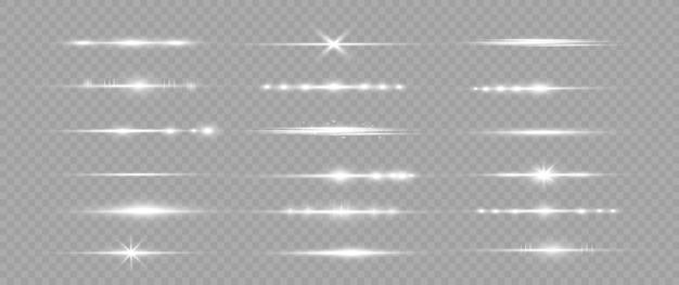 Pacote de reflexos de lentes horizontais brancas