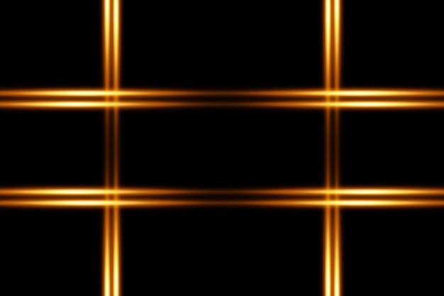 Pacote de reflexos de lentes horizontais douradas. feixes de laser, raios de luz horizontais. luzes lindas. listras brilhantes em fundo escuro.