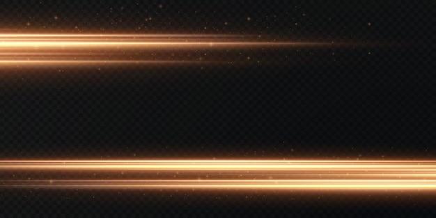 Pacote de reflexos de lentes horizontais douradas