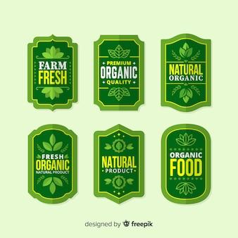 Pacote de rótulo de alimentos orgânicos plana