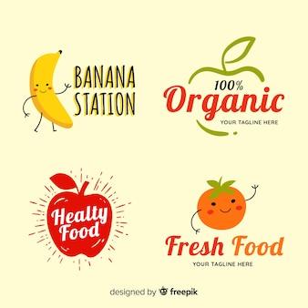 Pacote de rótulo de comida orgânica desenhada de mão