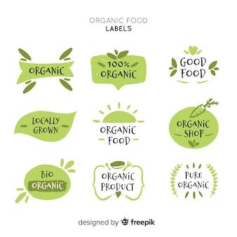 Pacote de rótulo de comida orgânica simples desenhada de mão