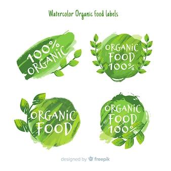 Pacote de rótulo de comida saudável verde aquarela