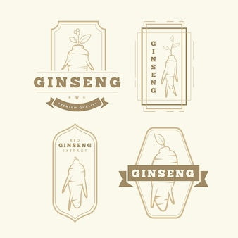 Pacote de rótulo de frasco de ginseng