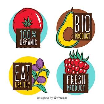 Pacote de rótulo de frutas orgânicas de mão desenhada
