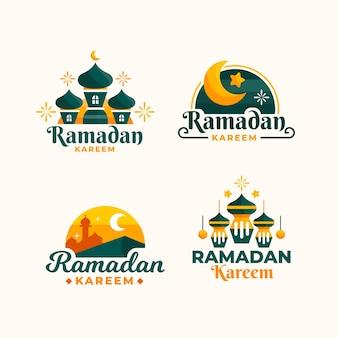 Pacote de rótulo de ramadan design plano