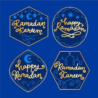 Pacote de rótulo de ramadan mão desenhada