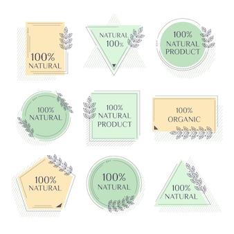 Pacote de rótulos cem por cento naturais