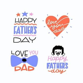 Pacote de rótulos de mão desenhada dia dos pais