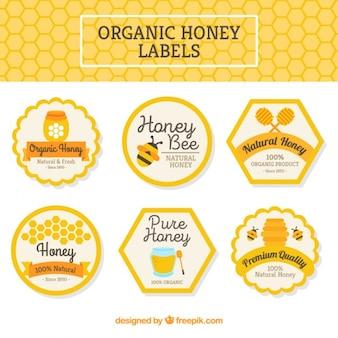 Pacote de rótulos de mel orgânico