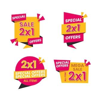 Pacote de rótulos de ofertas de vendas de compras