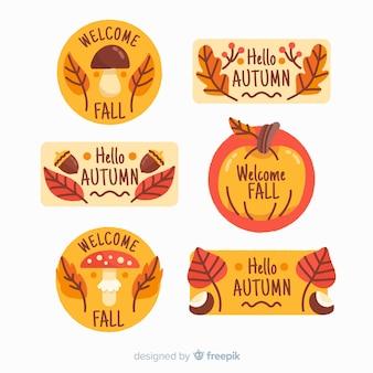 Pacote de rótulos de outono mão desenhada