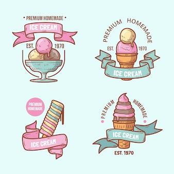 Pacote de rótulos de sorvete desenhado à mão