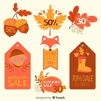 Pacote de rótulos de vendas outono