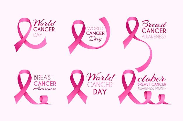 Pacote de rótulos do mês de conscientização do câncer de mama