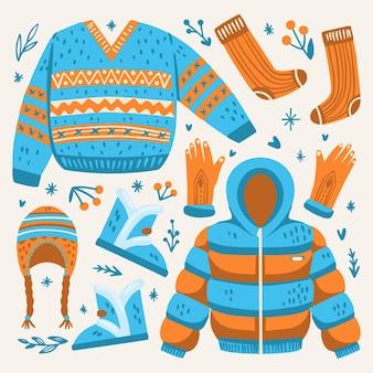Pacote de roupas de inverno desenhadas