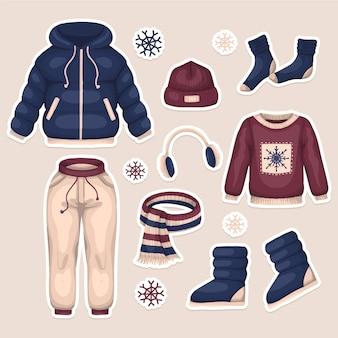 Pacote de roupas de inverno mão desenhada