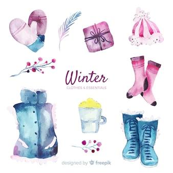 Pacote de roupas e itens essenciais de inverno