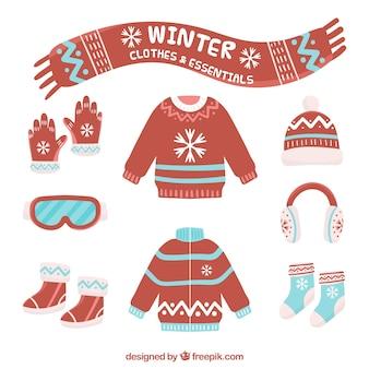 Pacote de roupas vermelhas de inverno