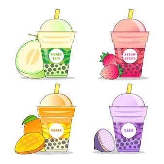 Pacote de sabores de chá de bolhas desenhadas à mão