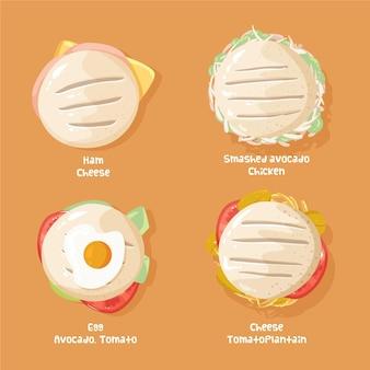 Pacote de saborosas arepas desenhadas