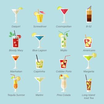 Pacote de saborosos cocktails