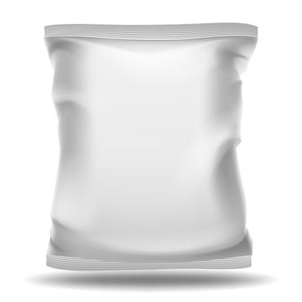 Pacote de saco branco em branco