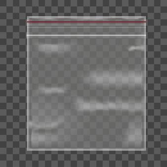 Pacote de saco plástico em fundo transparente