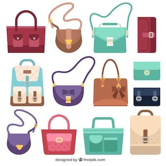 Pacote de sacos com diferentes estilos
