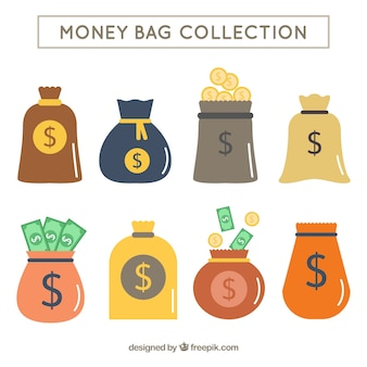 Pacote de sacos de dinheiro em design plano