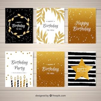 Pacote de saudações douradas de aniversário