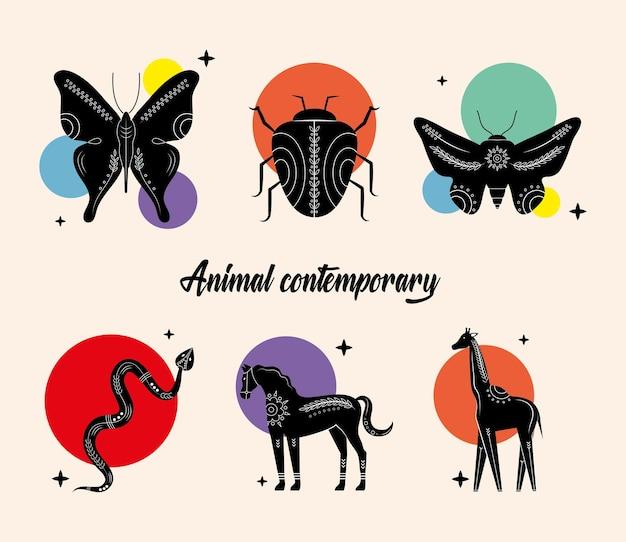 Pacote de seis animais, silhuetas contemporâneas, ícones da natureza
