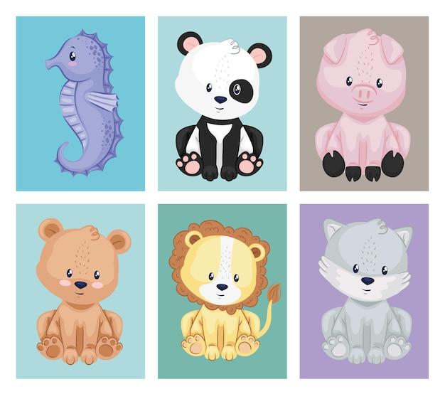 Pacote de seis animais