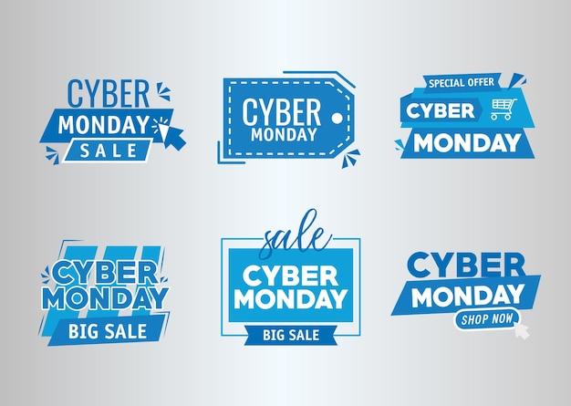 Pacote de seis banners cibernéticos de segunda-feira desenho de ilustração vetorial