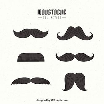 Pacote de seis bigodes no estilo do vintage