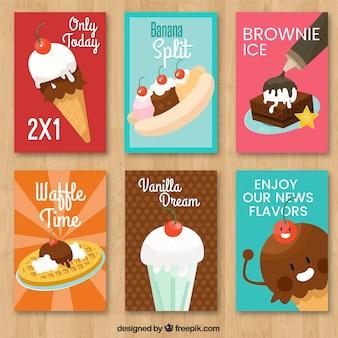Pacote de seis cartões de sorvete com variedade de elementos decorativos