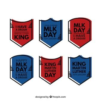 Pacote de seis emblemas pronto para o dia de martin luther king