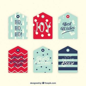 Pacote de seis etiquetas decorativas bonitas do natal