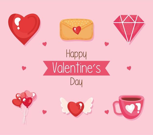 Pacote de seis feliz dia dos namorados conjunto de ícones e letras na ilustração da fita