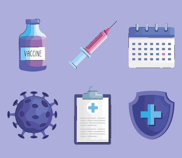Pacote de seis frascos de vacina e conjunto de ícones covid19