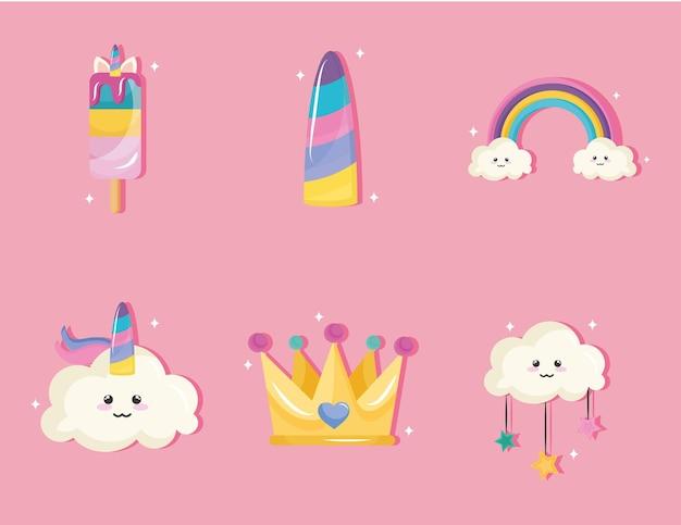 Pacote de seis ícones de conjunto de unicórnios