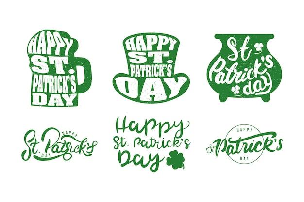 Pacote de seis ilustrações de letras do feliz dia de são patrício